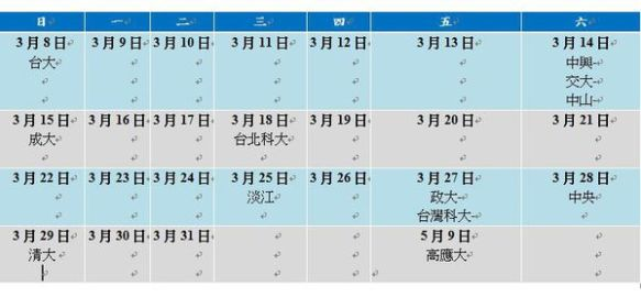 全年度的校園徵才行事曆及人員安排表